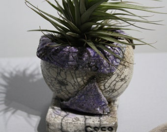 Raku small flower pot for table decoration