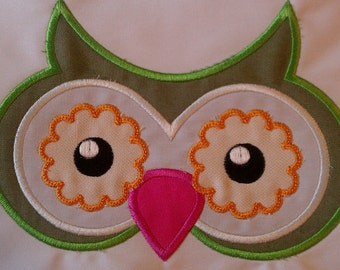 Owl Face Machine Embroidery Applique Design