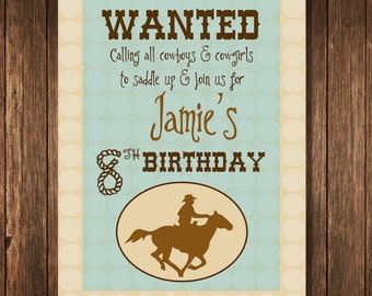 Cowboy Theme Birthday Party - Personalized 7.5x10 Welcome Poster Printable