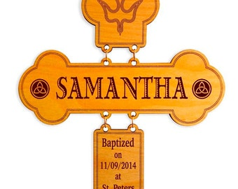 Custom / Personalized Cross for Baptism, Christening, Confirmation, First Holy Eucharist / Communion , Cross Wall Decor, hanging Cross.