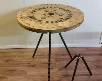 reclaimed spool dinner cafe bistro pub bar table on salvaged smooth iron legs