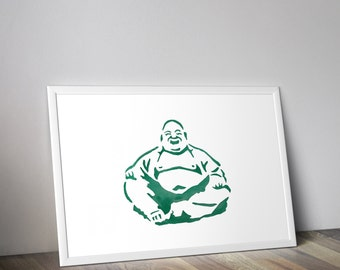 Teal Buddha art print, watercolor buddha, zen home decor art
