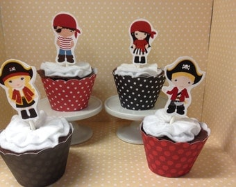 Pirate Party Cupcake Toppers Decorations - set of 10