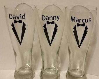 Personalized Groomsman bomba beer pilsner glasses, beer mug, groom gifts, tux glasses wedding favor
