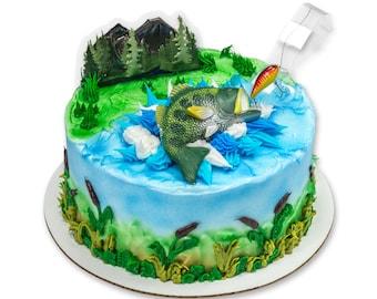 Fishing cake topper etsy for Fishing cake decorations