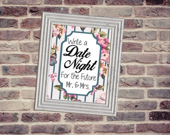 Date Night Jar Wedding Sign 8X10
