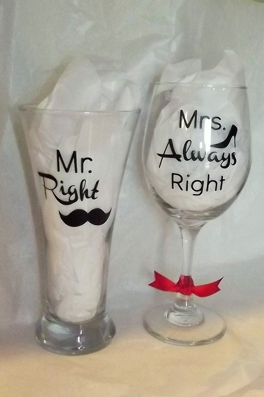 Mrs Always Right Collection Review: Mr. Right & Mrs. Always Right Wine Glass And By PrinterPunch