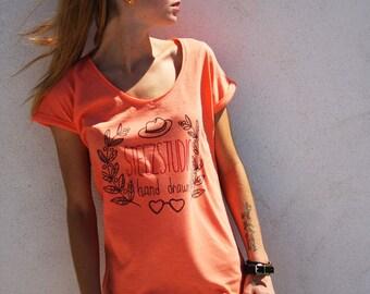 TEE-SHIRT Cotton Slub fashion bio Orange Coral