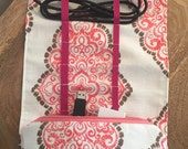 Travel Electronics Cord Organizer in Postcard and Pink Patterns