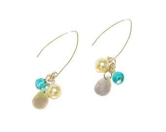 Aqua Earrings, pearl , mother of pearl, dangle, fashion earrings, fashion accessory