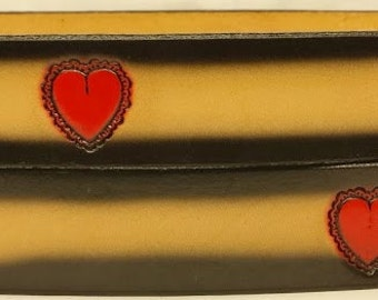 "Leather Belt 1 1/2"" Wide Hearts C1377"
