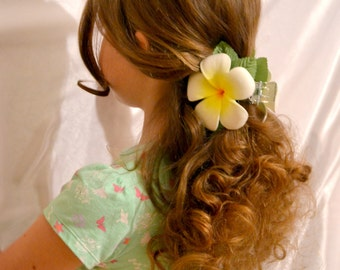 Plumeria foam flower Hair Claw, Hawaiian foam flower hair claw,  plumeria frangipani hair claw, tropical flower hair claw