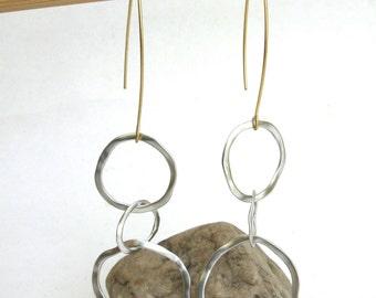 modern industrial triple hoop earrings