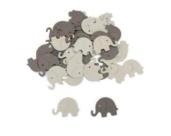 100 Assorted Grey Elephant Confetti, Die Cut Elephant, Baby Shower, Elephant Theme Party, Elephant Décor, Elephant birthday party