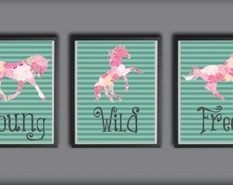 8x10 Young, Wild and Free - Instant Download, Horse, Stripes