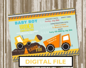 under construction theme baby shower invitation personalized digital
