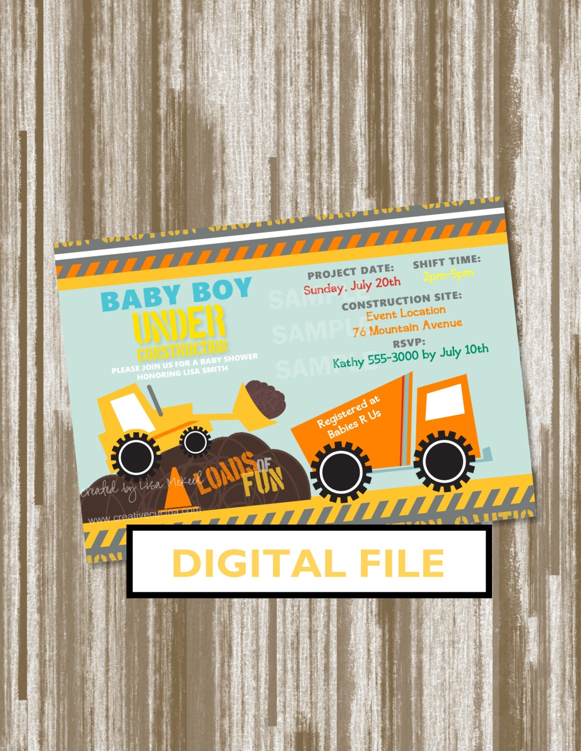 under construction theme baby shower invitationpersonalized