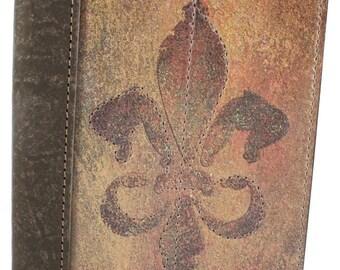 """Fleur De Lis Leather Journal / Fleur De Lis Notebook / Fleur De Lis Diary - Genuine Full Grain, Saddlery Leather, 5"""" X 7"""" Size"""