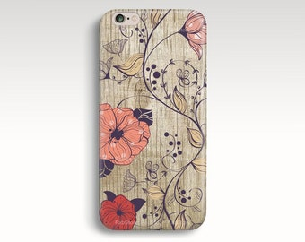 iPhone 6 Case, Wood Print iPhone 6s Case, Floral iPhone 5s Case, Wooden iPhone 5C Case, Girly iPhone Case, Cute iPhone 4s Christmas Gift