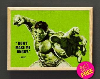 The Hulk Poster, The Incredible Hulk, Superhero Print, Marvel Avengers Print, Quotes Wall Art, Movie Poster, Gift - FREE SHIPPING - 151s2g
