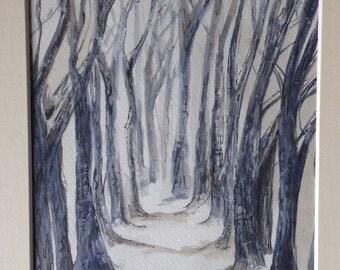 Tree lined snowy walk