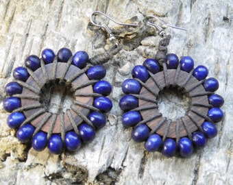 "Earrings ""Purple sun"" from wooden beads and coconut"