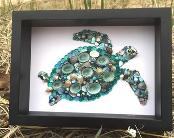 Sea Turtle Picture   Sea Turtle Decor   Beach Decor   Shell Turtle Picture    Seashell