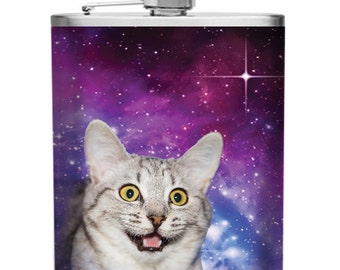 Space Cat Matte Stainless Steel 6 oz Flask