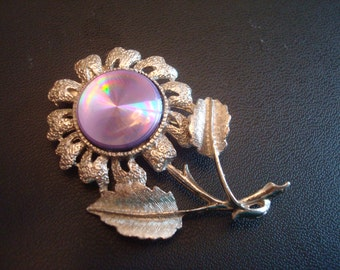 Iridescent  Signed Jewelarama Vintage 1960s Refraction Flower Brooch