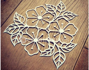 Printable PDF Paper cutting Template - Flowers and leaves