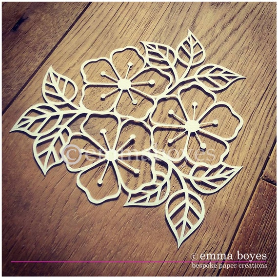 Items similar to printable pdf paper cutting template for Paper cut out templates flowers