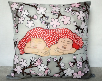 Twin nursery decor Twin pillow cover Couch cushion Twin congratulation gift Twin room decor Gift for twins Silk pillow cover 16x16