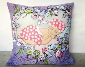 Hand painted silk pillow cover Nursery pillow Girls room pillow Princess room pillow Decorative pillow Fairy tale pillow Nursery Decor