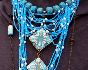 Turquoise Necklace from polymer clay - mosaic handmade gift for her jewelrylimanska