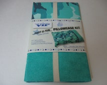 Cranston VIP Fabric Pillowcase Kit Aqua Gray Make 1 Std. Pillowcase In About An Hour! 100% Cotton 3 Coordinating Fabrics Free Shipping!