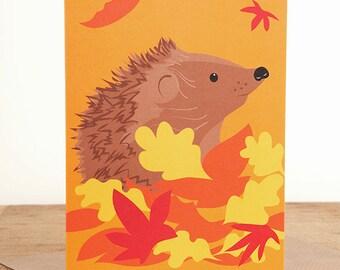 Hedgehog and leaves greetings card