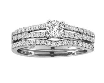 0.63Ct Diamond 14K White Gold Engagement & Wedding Band Bridal Set Rings