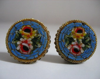 Vintage Earclips Mosaic Roses.