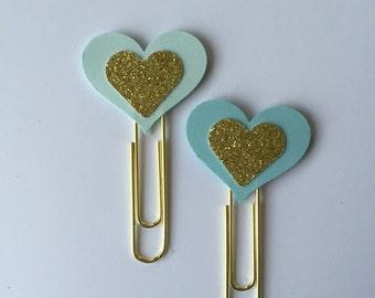 Gold Glitter heart paper Clips. Set of 2.