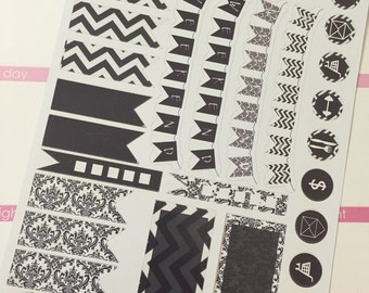 Black and White Chevron and Damask Stickers for your Erin Condren Planner