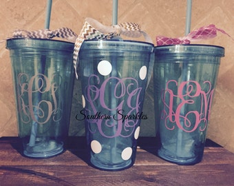 Aqua Monogrammed Tumbler ~ Monogram Tumblers ~ Personalized Gift ~ Personlized Cup ~ Custom Cup ~ Bridesmaid Gift ~ Birthday Gift