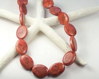 "Red Jasper gemstones, 16"" strand red gemstones, 30mm oval stones, Red stones,G451, Ships USA"