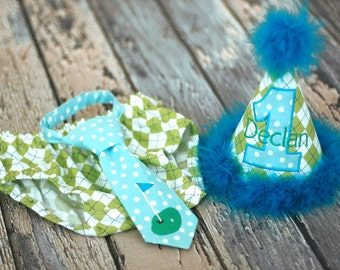 Golf Green Cake Smash Outfit - Little Guy Tie, Diaper Cover, Hat - Lime Green Aqua Argyle Golf Birthday Party Cake Smash Outfit