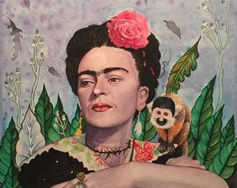 """Frida Kahlo portrait. """"Kahlo"""" beautiful portrait of the Mexican painter"""