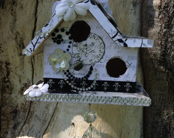 Decorative Birdhouse - Black and White - Crystals, Flowers, Paper