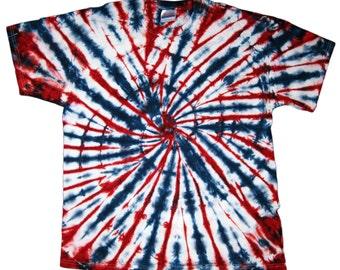 Tie Dye TShirt, Red, White & Blue Short Sleeve S M L XL 2XL 3XL, 4th of July, Memorial Day, Patriotic Tie-Dye, Hanes, Gildan, Shirt, Unisex