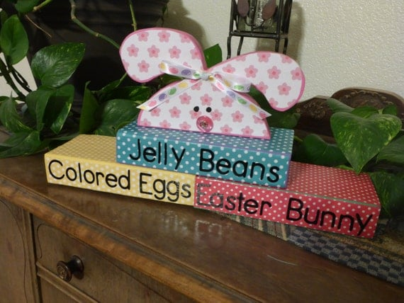 """Homemade wood block """"Jelly Beans, Colored Eggs, Easter Bunny"""": spri..."""