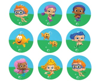 Bubble Guppies cupcake/cookie toppers edible  Sheet of 12 Images