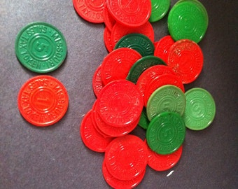 30 Vintage Missouri Sales Tax Tokens, celluloid, bakellite, plastic ????