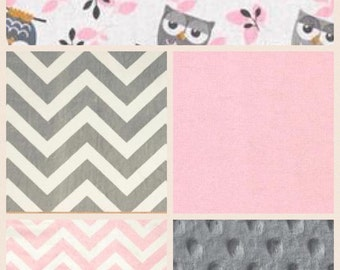 Popular items for pink gray owl on etsy for Pink and grey nursery fabric
